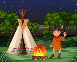 Índio vermelho na fogueira vetor