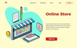 Modelo de página de aterrissagem de loja on-line com ilustração isométrica