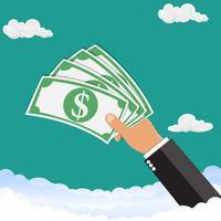 Mão segurando o dinheiro. A mão está segurando o dinheiro no céu. Ilustração vetorial vetor