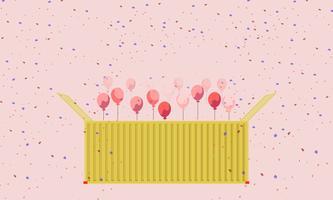 Colorido presente recipiente caixa amarela e balões de coração vector cartão