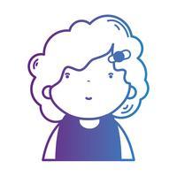 garota de avatar de linha com penteado e blusa vetor