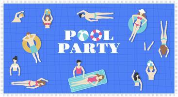 Festa na piscina, vista superior vetor de piscina