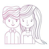 casal de beleza de linha juntamente com design de penteado vetor