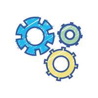 processo de engenharia de indústria de engrenagem de cor vetor