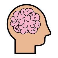 homem de silhueta com design de cérebro de anatomia vetor