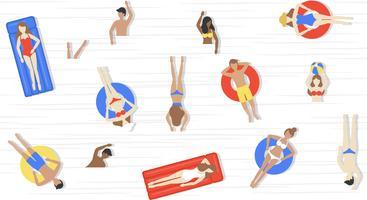 Férias de verão, pessoas em vetor de piscina