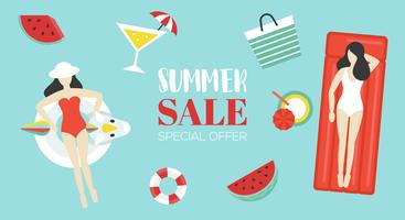 Cartaz de venda de verão com objeto relacionado de verão no fundo vetor