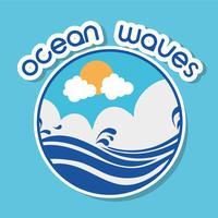 ondas do mar com design de nuvens lanscape vetor