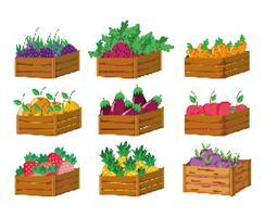Conjunto de ícones de colheita pixelizada vetor