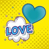 Coração e amor pop art vetor
