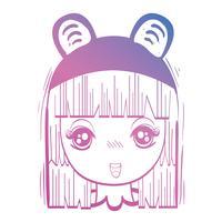 cabeça de menina anime linha com custome e penteado vetor