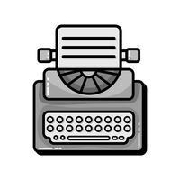 equipamento de máquina de escrever retro em tons de cinza com documentos de negócios vetor