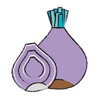 doodle cebola orgânica nutrição vegetal gosto vetor