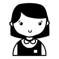 contorno menina casual com penteado e blusa uniforme vetor
