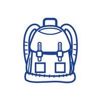 objeto de mochila de silhueta com bolsos e fechamentos de design vetor
