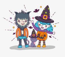 Desenhos de Halloween e crianças vetor