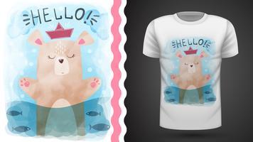 Urso da aguarela - ideia para o t-shirt da cópia. vetor
