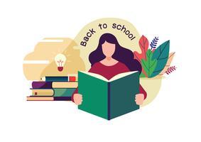 Bem vindo de volta à escola. Aluno a ler um livro. Ilustração em vetor plana dos desenhos animados