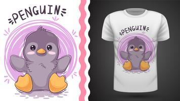 Ideia bonito do pinguim para o t-shirt da cópia. vetor