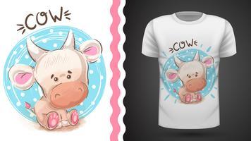 Vaca da aquarela da peluche - ideia para o t-shirt da cópia. vetor