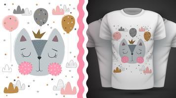 Gato, gatinho - idéia para impressão t-shirt. vetor