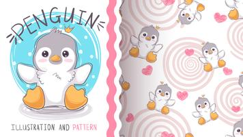 Pinguim de princesa bonito - maquete para a sua ideia vetor