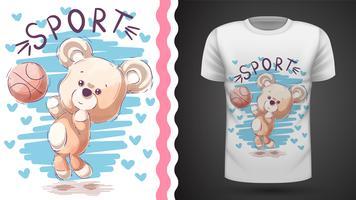 Urso de pelúcia jogar basquete - maquete para sua idéia vetor