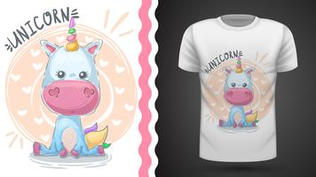 Unicórnio fofo - idéia para impressão t-shirt vetor