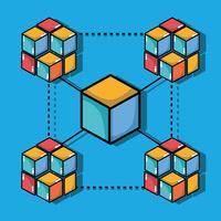 tecnologia de segurança digital de cubos blockchain vetor