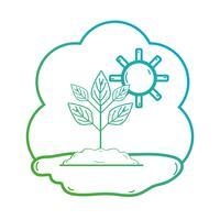 linha planta com folhas e terra ecológica vetor