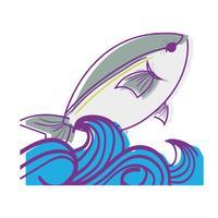peixe animal no mar com design de ondas vetor