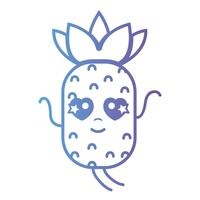 linha kawaii cute in love abacaxi frutas vetor