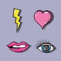 conjunto de patches de moda pop art design vetor