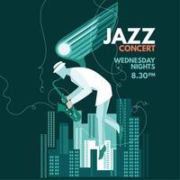 Saxofonista de fantasia tocar saxofone para música jazz vetor