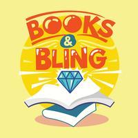Livros e ilustração de frase de Bling. Volta para a citação de escola