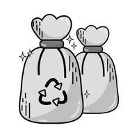 sacos de lixo de lixo em tons de cinza com o símbolo de reciclagem vetor