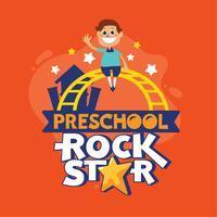 Ilustração pré-escolar da frase da estrela do rock. Volta às citações da escola