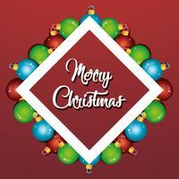 projeto de cartaz de decoração de bolas de Natal feliz vetor