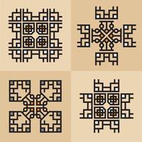 Luxo japonês, caligráfico, linhas de ornamento elegante asteca vetor