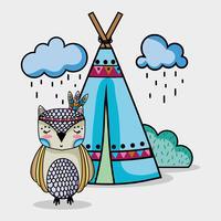 coruja animal tribal com acampamento e nuvens vetor