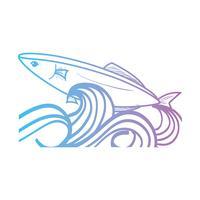 linha peixe animal no mar com design de ondas vetor