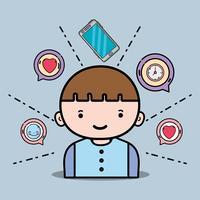 menino com mensagem de bate-papo de ícones do smartphone vetor