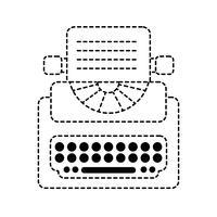 equipamento de máquina de escrever retrô de forma pontilhada com documentos de negócios vetor