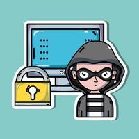 pessoa hacker para vírus programador no sistema vetor