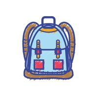 objeto de mochila com design de bolsos e fechos vetor