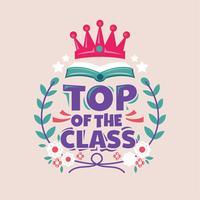 Topo da frase de classe, livro com coroa, volta para ilustração de escola