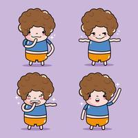 conjunto menino emoticon personagem enfrenta mensagem vetor