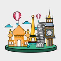 viajar países de férias para visitar vetor