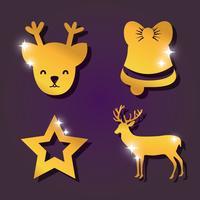 conjunto de decoração de Natal feliz vetor