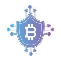 escudo de bitcoin de linha com circuitos eletrônicos vetor